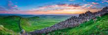 Hadrian's Wall Panorama At Sun...