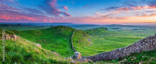 Fototapeta Twilight Panorama at Hadrian's Wall / Hadrian's Wall is a World Heritage Site in the beautiful Northumberland National Park. Popular with walkers along the Hadrian's Wall Path and Pennine Way obraz