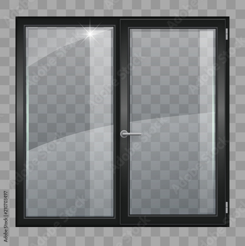 Black window with transparent glass Wall mural