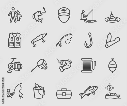 Stampa su Tela Line icons set for Fishing