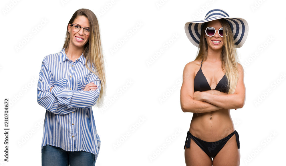 Fototapeta Young beautiful blonde woman wearing business and bikini outfits happy face smiling with crossed arms looking at the camera. Positive person. - obraz na płótnie