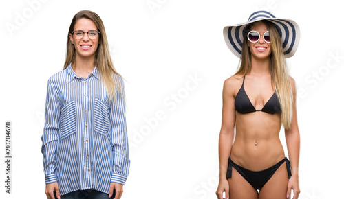Fototapeta Young beautiful blonde woman wearing business and bikini outfits with a happy and cool smile on face. Lucky person. obraz na płótnie