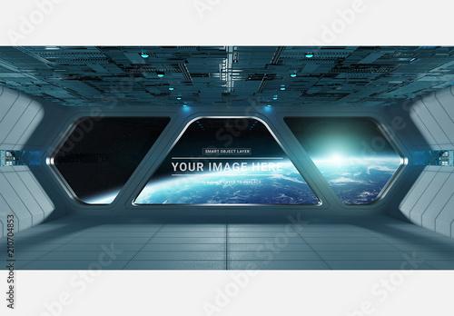 Futuristic Spaceship Interior Mockup. Buy This Stock
