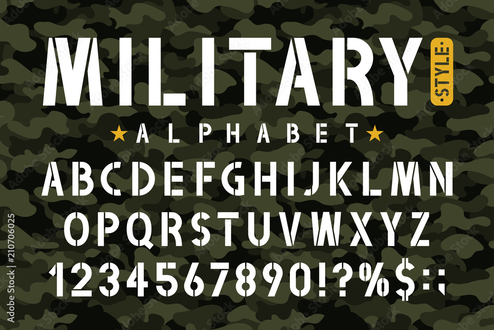 Fototapeta Military stencil font on camouflage background. Stencil alphabet with numbers in retro army style