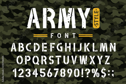 Military stencil font on camouflage background Wallpaper Mural
