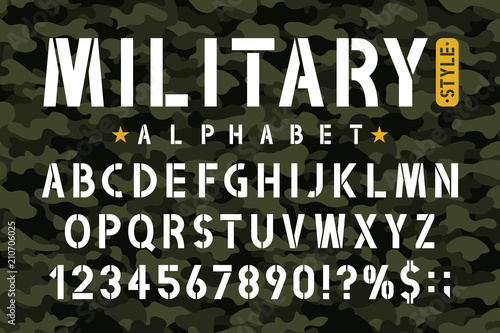 Military stencil font on camouflage background Canvas Print