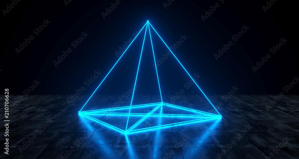 Geometric Futuristic Sci-fi Neon Primitive Pyramid Light On Dark Grunge Concrete Surface 3D Rendering w salonie