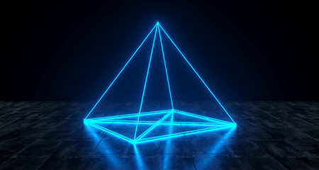 Geometric Futuristic Sci-fi Neon Primitive Pyramid Light On Dark Grunge Concrete Surface 3D Rendering
