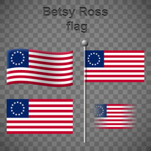 Set Of Betsy Ross Flags Isolat...