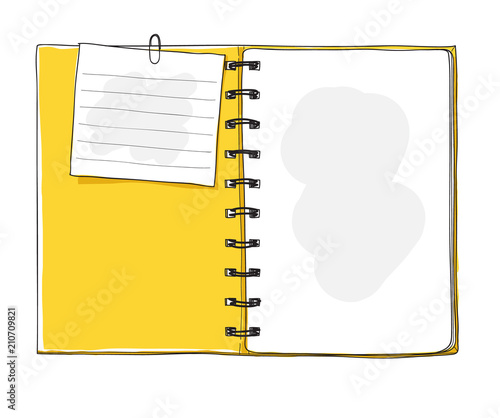 yellow notebook and note paper  hand drawn vector art illustration Canvas Print