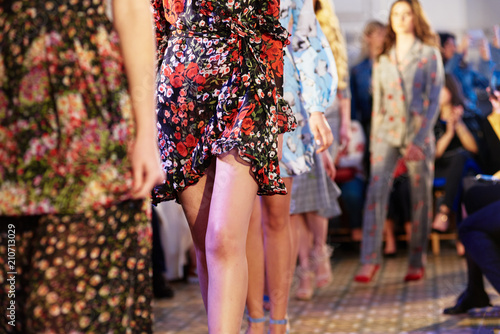 Valokuva Fashion models showing new clothes collection at fashion week