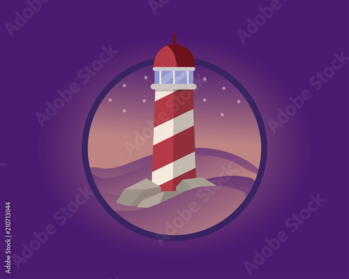 Foto op Plexiglas Violet Lighthouse in the night