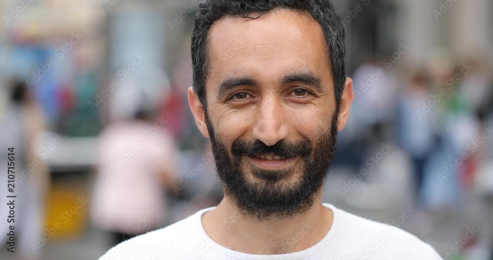 Fototapety, obrazy: Man in city face portrait smile happy