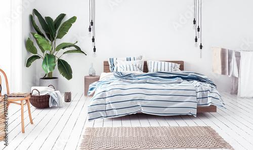 Fotografering  New Scandinavian bedroom, 3d render