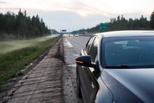 Black Car On The Roadside