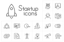 Line Startup Icons Set On Whit...