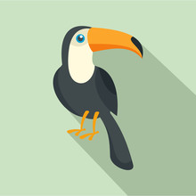 Toucan Bird Icon. Flat Illustration Of Toucan Bird Vector Icon For Web Design