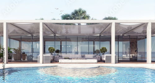 Fotografia  Home modern exterior and pool and patio 3D Rendering