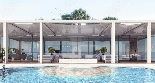 Home modern exterior and pool and patio 3D Rendering Obraz na płótnie