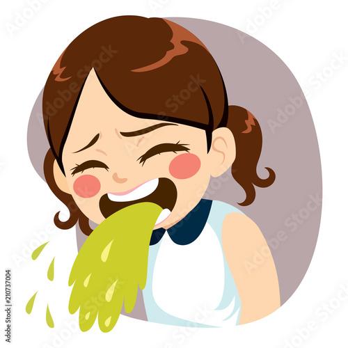 Obraz na plátně Sweet little girl throwing up puke vomiting