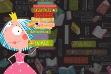 Colorful Vector Design For Library Template. Vector Cartoon.