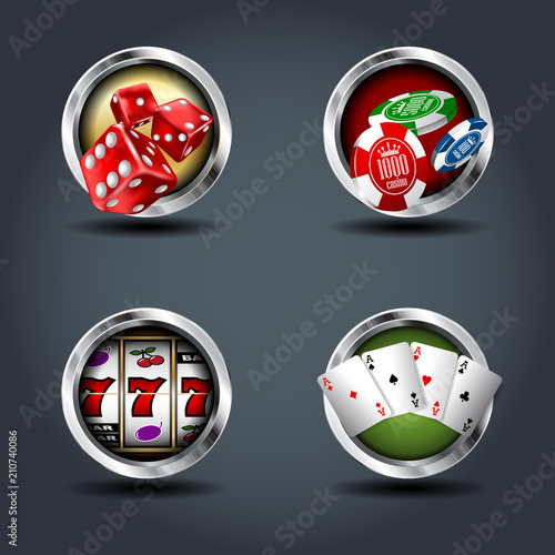 Fotografía  Casino four steely rounded badge icons. For Ui/Game.