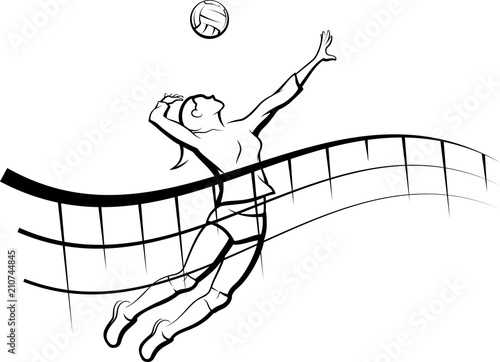fototapeta na lodówkę Volleyball Flowing Net Female