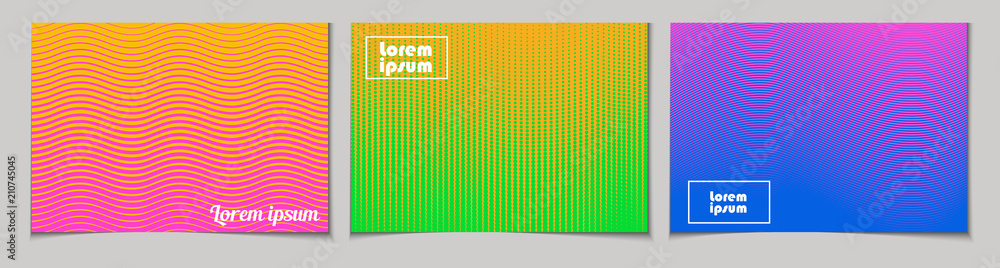 Fototapeta Set of horizontal abstract backgrounds with halftone pattern in neon colors. Collection of gradient textures with geometric ornament. Design template of flyer, banner, cover, poster