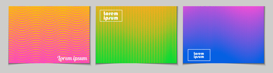 Set of horizontal abstract backgrounds with halftone pattern in neon colors. Collection of gradient textures with geometric ornament. Design template of flyer, banner, cover, poster
