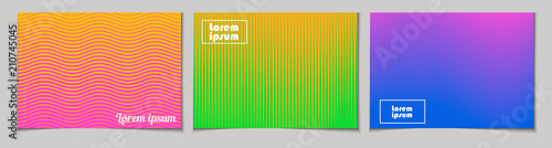 Photo  Set of horizontal abstract backgrounds with halftone pattern in neon colors