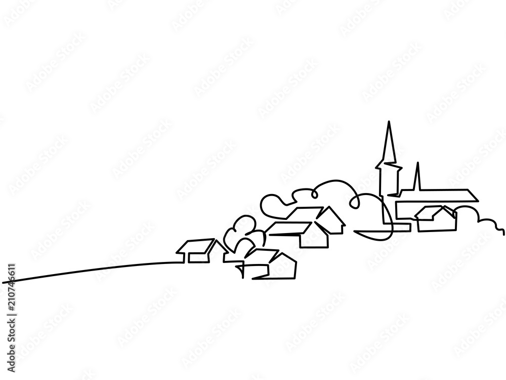 Fototapeta Continuous line drawing. Landscape with village on hill. Vector illustration. Concept for logo, card, banner, poster, flyer