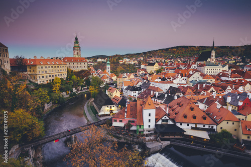 Photo  Historic town of Cesky Krumlov at sunset in fall, Bohemia, Czech Republic