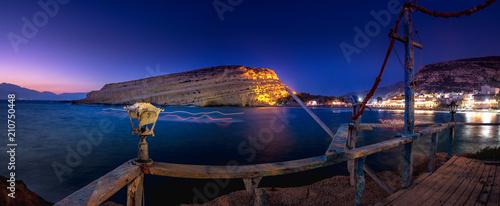 Beautiful Matala beach and cliff at night, Crete Island - 210750448
