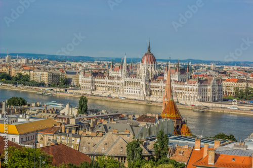 Photo Stands Europa Budapest - capital of Hungary urban waterfront old medieval city district from above in summer time colorful bright day with view on Danube river and house of parliament