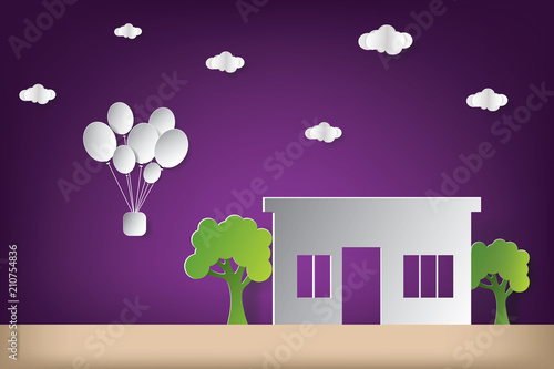 Spoed Foto op Canvas Violet House vector illustration with cloud origami and balloon. Paper art and craft style.