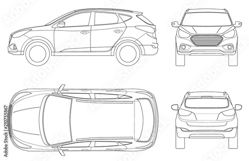 Fototapeta Car vector template on white background. Compact crossover, CUV, 5-door station wagon on outline. Template vector isolated. View front, rear, side, top. obraz