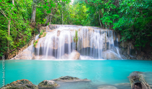Poster Bleu nuit Waterfall in the tropical forest