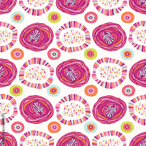 Fotografía  Colorful Graphic Floral Blooms, Retro Style Seamless Pattern, Hand Drawn Illustr
