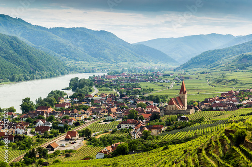 Fotografie, Obraz  Scenic View into the Wachau with the river Danube and town Weissenkirchen in Lower Austria