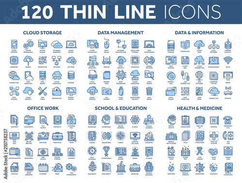 Fototapeta Cloud storage. Data management. Computing. Information. Internet connection. Office work. School and education. Medicine. Thin line blue icons set. Stroke. obraz