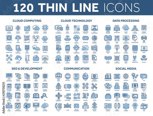 Fototapeta Cloud computing and technology.Data storage. Seo,development. Social network,communication. Internet connection. Email message. Thin line blue icons set. Stroke. obraz