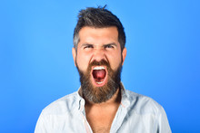 Angry Man. Anger. Aggressive Bearded Man Screaming. Man With Long Beard And Mustache With Angry Face Expression. Feeling And Emotions. Close Up. Emotions. Feelings. Facial Expressions Concept.