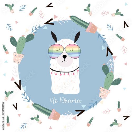 7019ba9cc Blue hand drawn cute card with llama,glasses,cactus in summer.No drama
