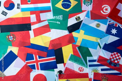 Fotografía International world flag , Football world cup in Russia 2018