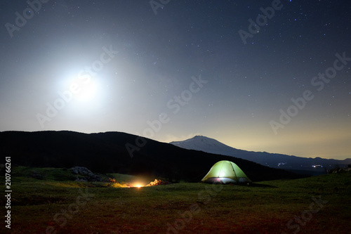 Tent And Etna Volcano Under The Moon Light, Nebrodi Park in Sicily Tapéta, Fotótapéta