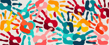 Color Hand Print Paint Background Web Banner