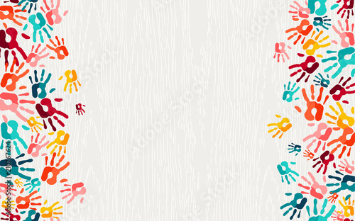 Valokuva  Human hand print color background art