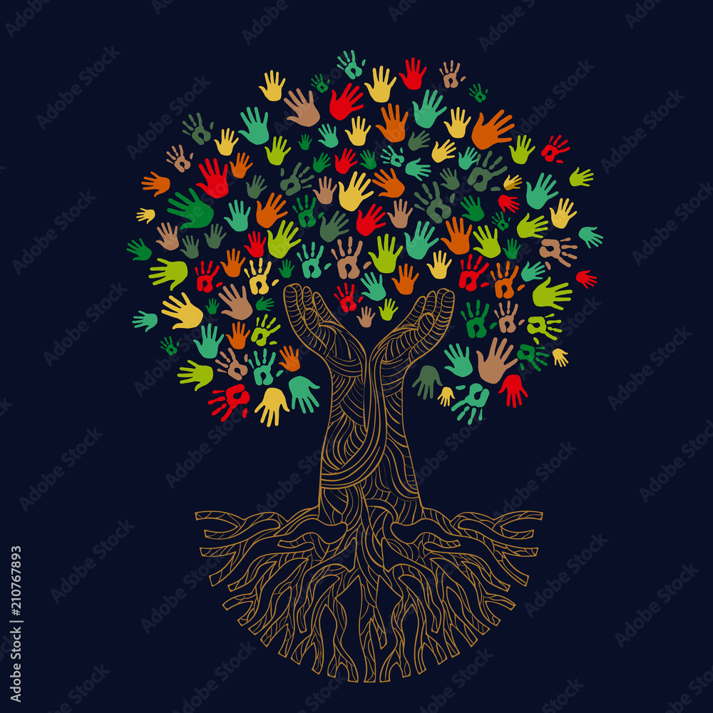 Fototapeta Tree with human hands for social work help