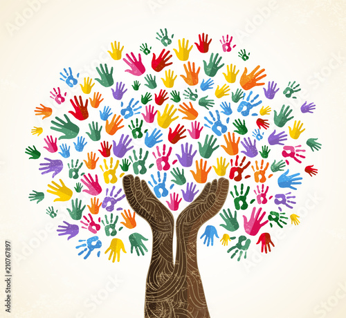 Human hand tree for culture diversity concept Wall mural