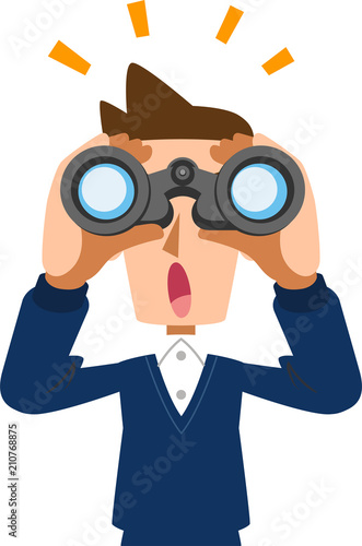 Fotografie, Obraz  双眼鏡を覗き、なにかに気がつく男性 夫 父